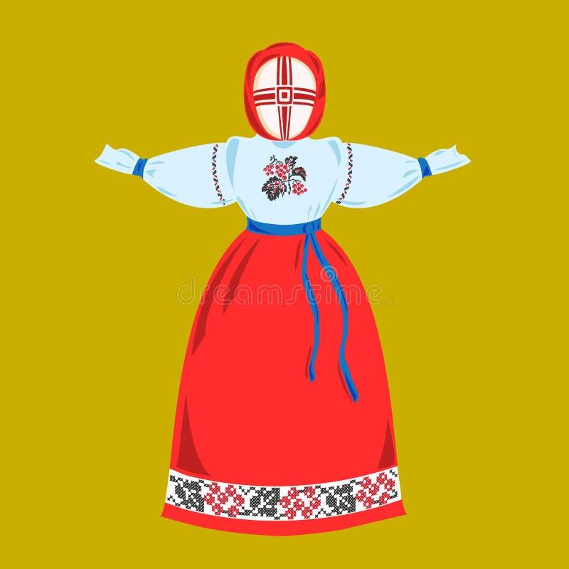 Ethnic Ukrainian doll motanka in embroidered clothes. stock illustration