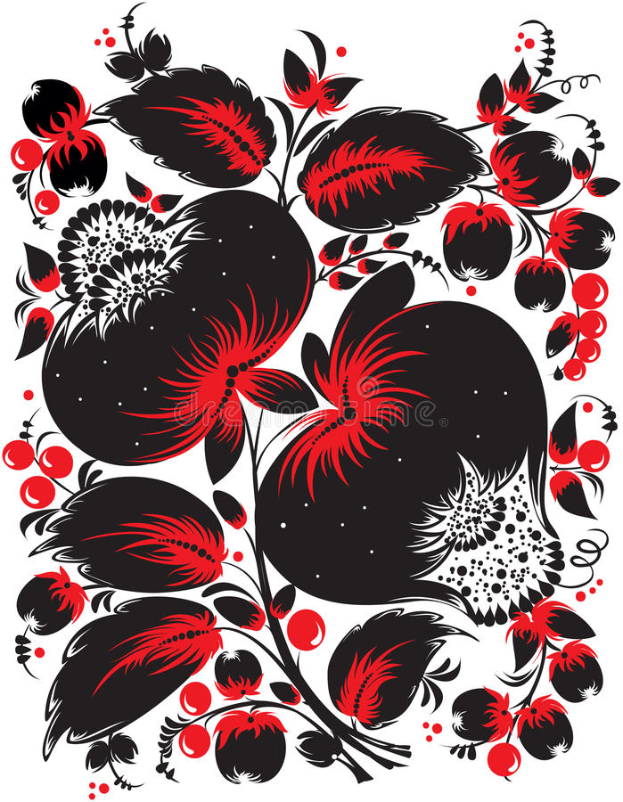 Ethnic ukrainian floral pattern. In traditional red and black colors vector illustration
