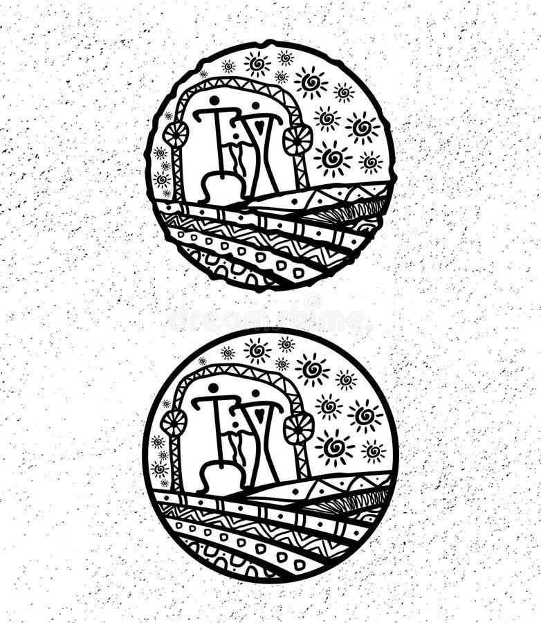 Ethnic vector logo. The ethnic circular logo. Simple logo. The brand name, emblem, logo. Mandala Logo boutique. Vintage. Islam, Arabic, Indian, ottoman stock illustration