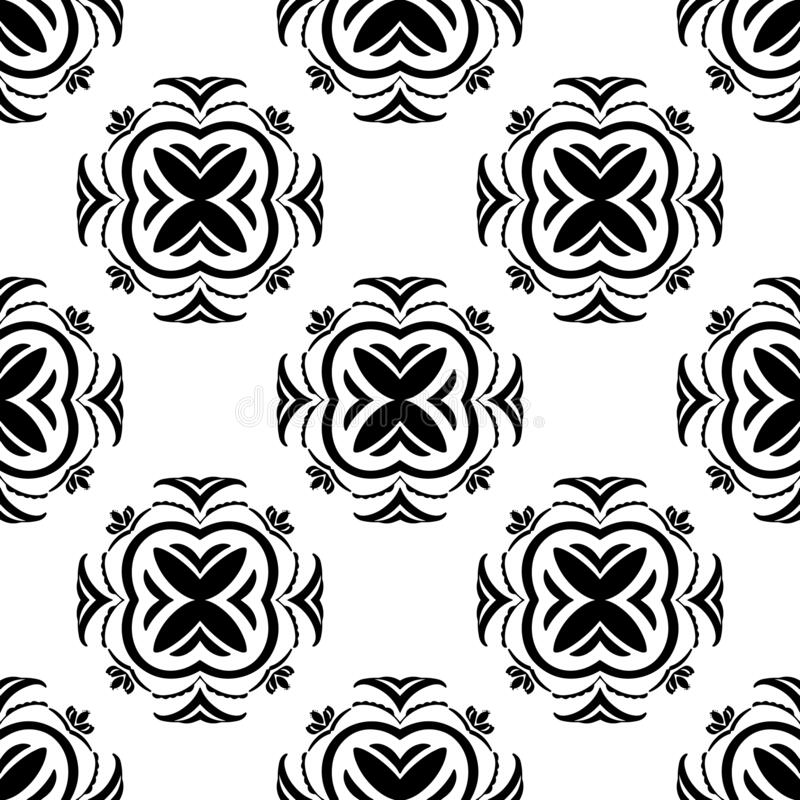 Ethnic vector seamless pattern with tiled motifs in black and white vector illustration