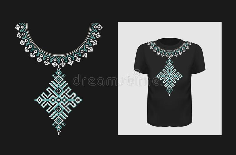 Ethnic vector t shirt print design. Ukrainian authentic ornament on apparel mock up. Traditional Eastern Europe pattern royalty free illustration