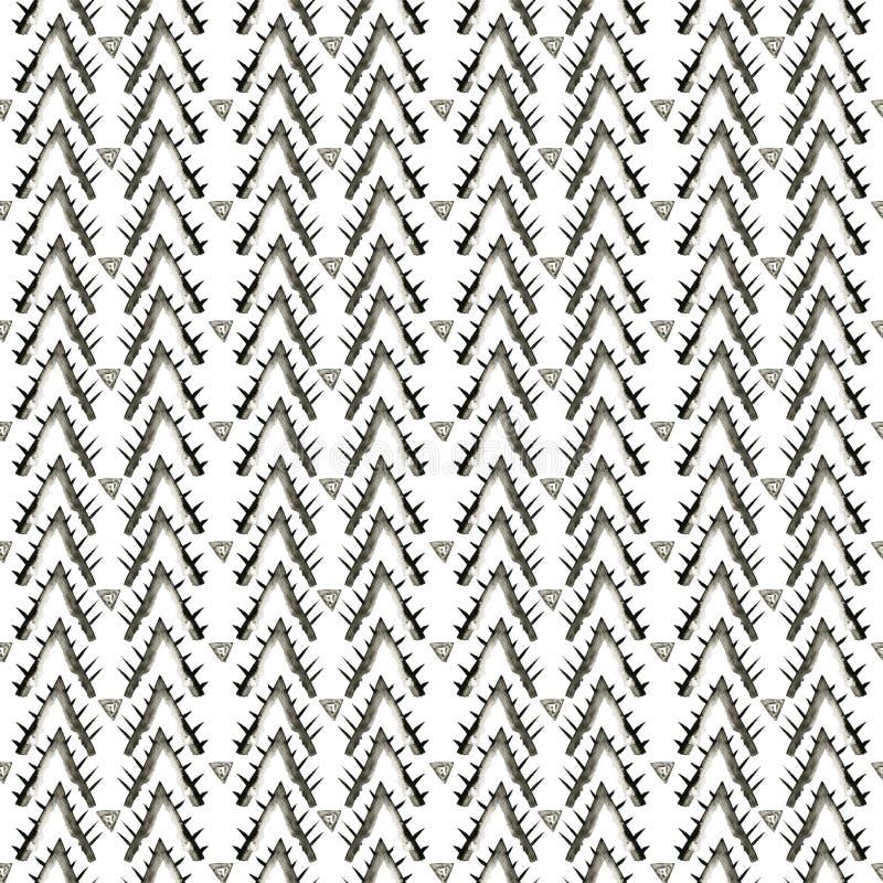 Ethnic watercolor pattern. Fashion aztec geometric background. Hand drawn monochrome pattern. Modern abstract wallpaper. stock illustration