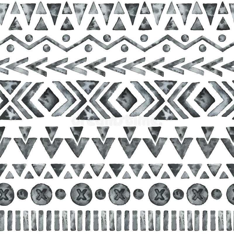 Ethnic watercolor seamless pattern. royalty free illustration