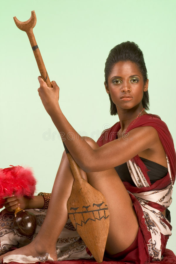 Download Ethnic Woman Chief With Spear And Other Artifacts Stock Photo - Image: 7276306