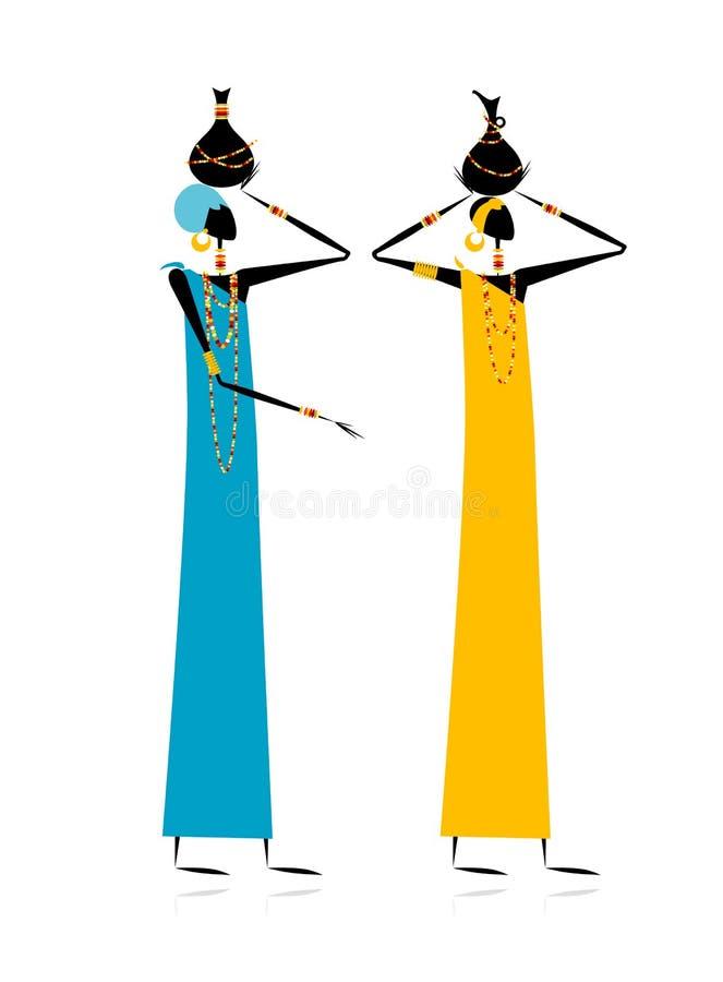 Download Ethnic women with jugs stock vector. Image of femininity - 22097885