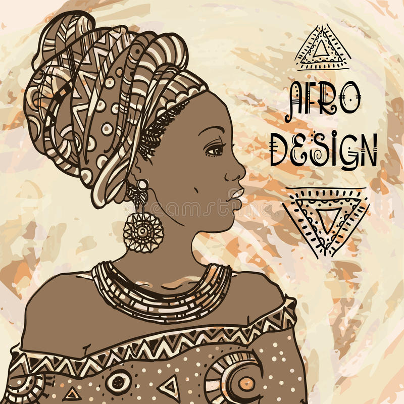 Ethnic young african woman portrait on grangebackground . Vector illustration. Afro design vector illustration