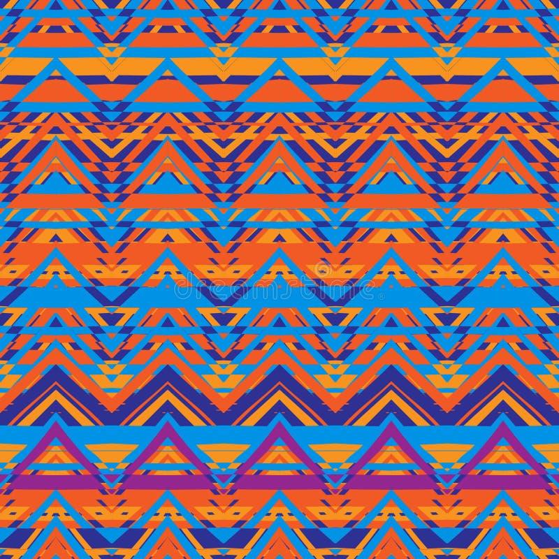 Ethnic zigzag pattern, aztec style seamless background stock illustration