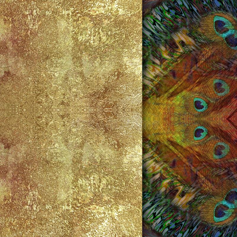 ethnical tło, złoty kamień i pawi ojcowie, ilustracji