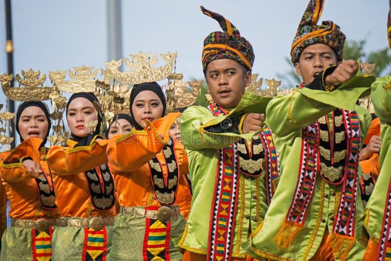 Ethnie de Bajau Sama pendant le Jour de la Déclaration d'Indépendance de la Malaisie photographie stock libre de droits