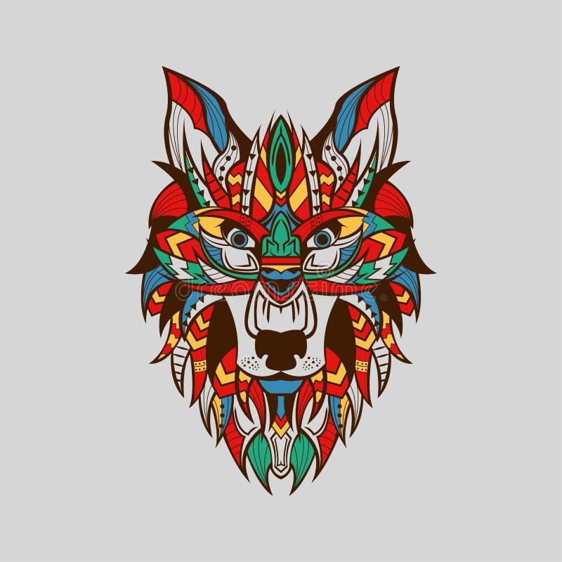 Ethnisch gemusterter Kopf der Wolf-Front-Ansicht Braun Line Farbe stock abbildung