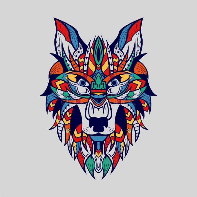 Ethnisch gemusterter Kopf Wolf Front View Blue Line Farbe vektor abbildung