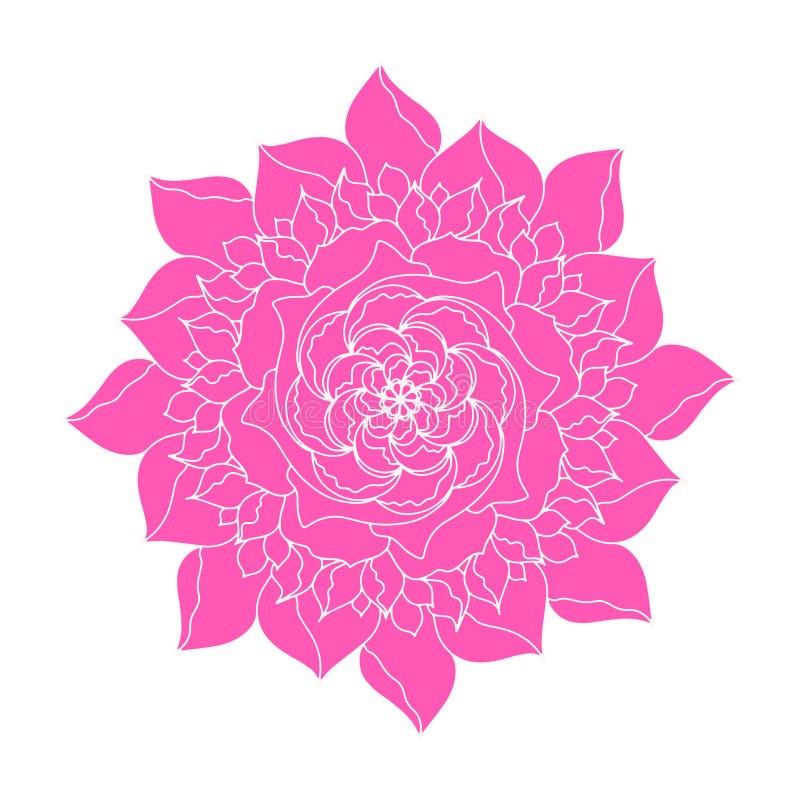 Ethnische Anlage des rosa Pfingstrose Blumenvektorkonzept-Logos Dekorfr?hlings- oder Sommerblumenmusterelement Abstrakte kalligra lizenzfreie abbildung