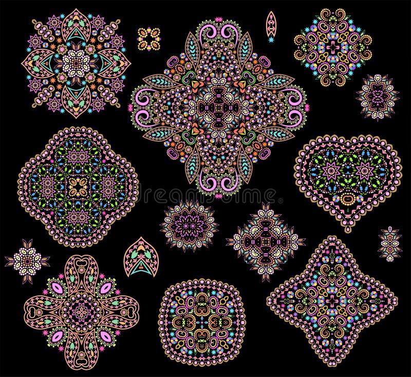 Ethnische bunte Schablonen - stellen Sie von den Schablonen ein stock abbildung