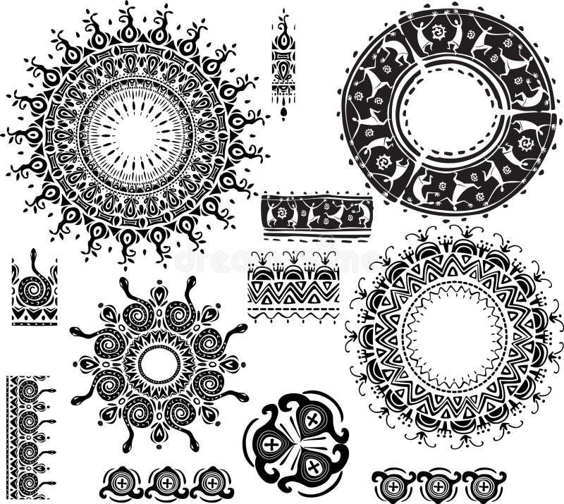 Ethnische dekorative Rosetten stock abbildung