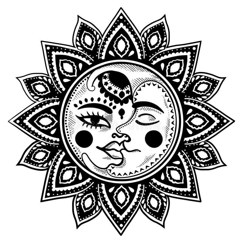 Ethnische Illustration Sun und des Weinlesevektors des Mondes lizenzfreie abbildung
