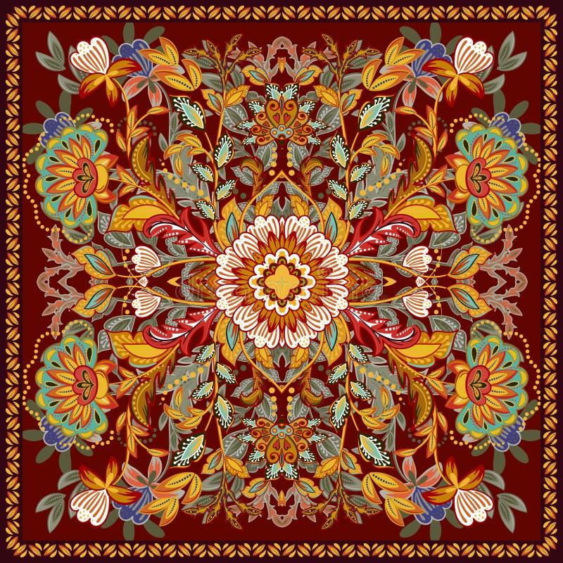 Ethnische indische Blumen der reizenden Tischdecke Schöne Vektorverzierung Karte, Bandanadruck, Halstuchdesign, Serviette hell vektor abbildung