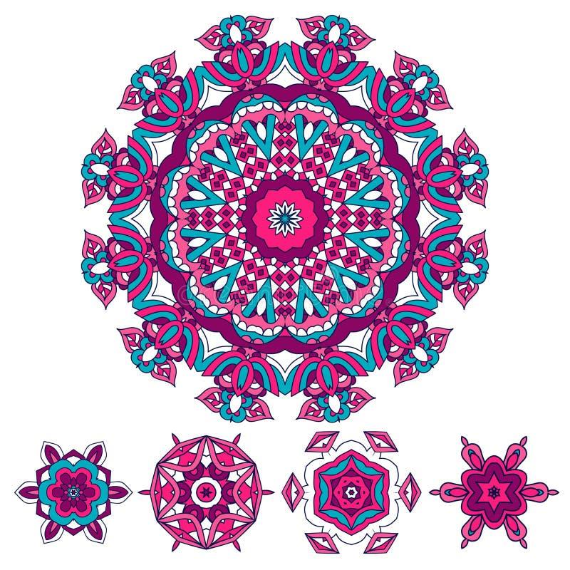 Ethnische Mandala der bunten Runde, Vektorillustration auf weißem Hintergrund lizenzfreie abbildung