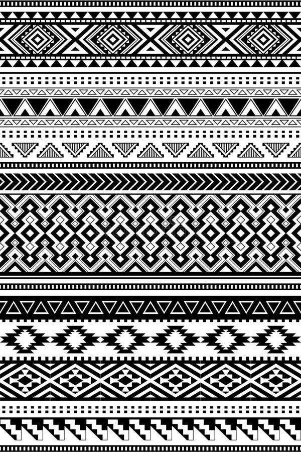 Ethnische Muster des Azteken und Amazonas Satz von 12 Einzelteilen vektor abbildung