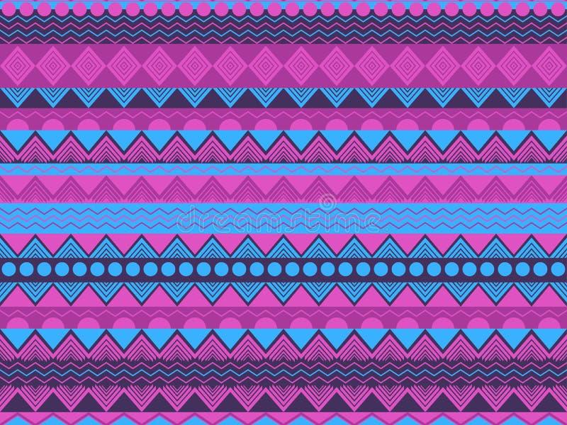 Ethnische nahtlose Muster-, violette und Blauefarbe Stammes- Gewebe, Hippieart Für Tapete Bettwäsche, Fliesen, Gewebe stock abbildung