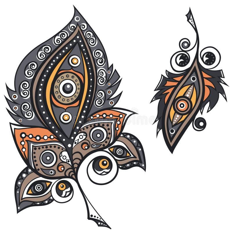 Ethnische Ornamentalfedern lizenzfreie abbildung