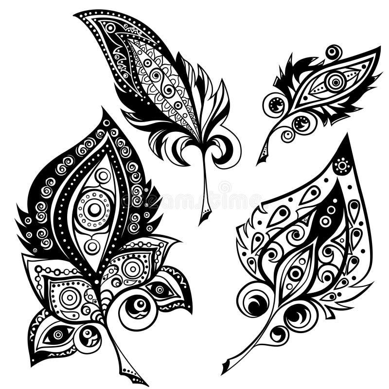 Ethnische Ornamentalfedern vektor abbildung
