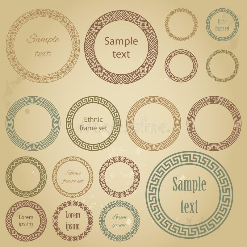 Ethnische runde Rahmen der unterschiedlichen Größe mit Probe simsen lizenzfreie abbildung