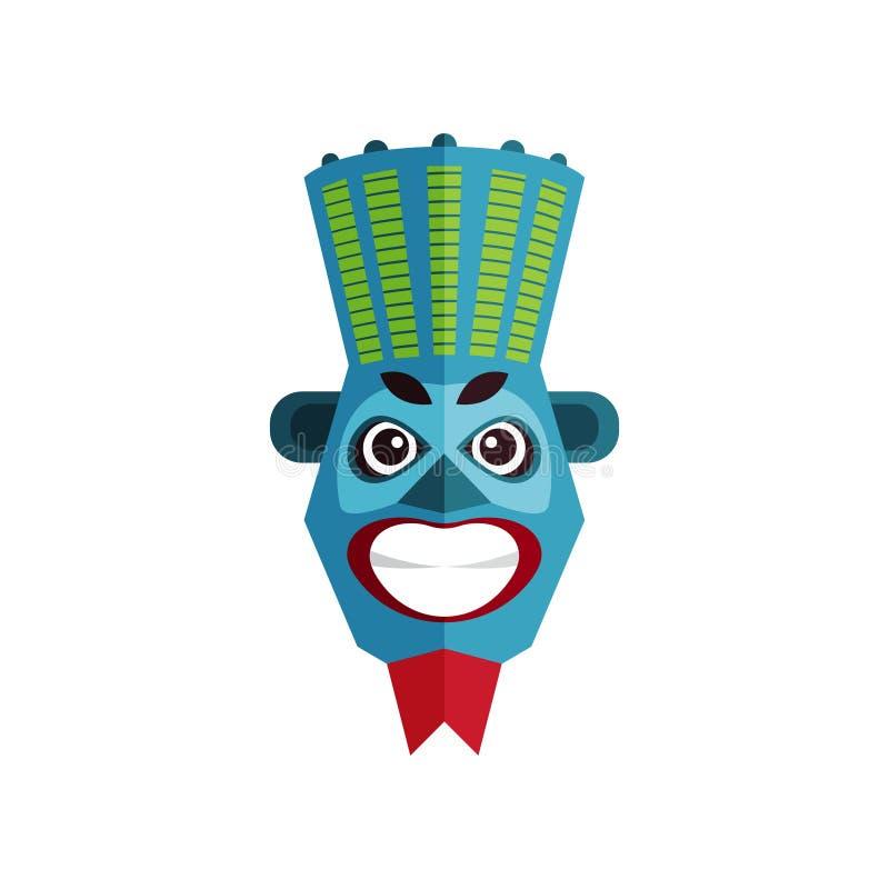 Ethnische Stammes- Maske Zulu- Kultur Traditionelles Symbol von afrikanischen Stämmen Flaches Vektordesign für Plakat, bewegliche stock abbildung
