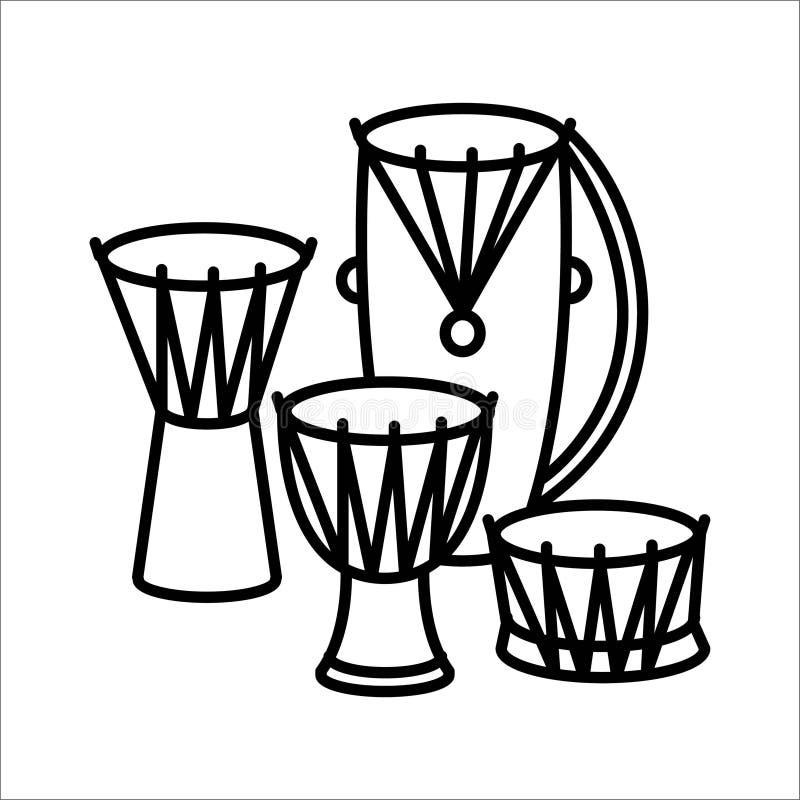 Ethnische Trommelmusikinstrumentikonen- und -vektorillustration vektor abbildung