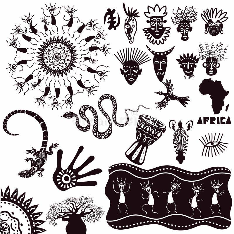 Ethnische Verzierungen von Afrika Eine Sammlung alte Zeichen lokalisiert auf einem weißen Hintergrund Karikatur polar mit Herzen vektor abbildung
