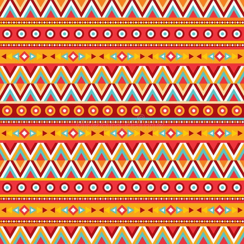 Ethnischer abstrakter Hintergrund Stammes- nahtloses Vektormuster Boho-Modeart Dekorative Auslegung stock abbildung
