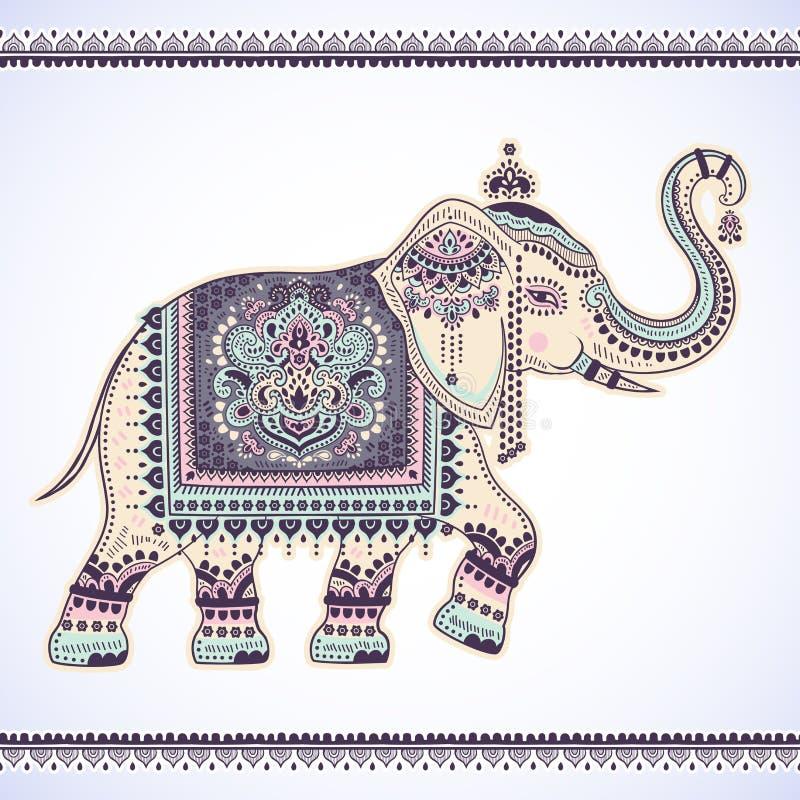Ethnischer Elefant des grafischen Lotos des Vektors der Weinlese indischen Afrikanisches Tri stock abbildung