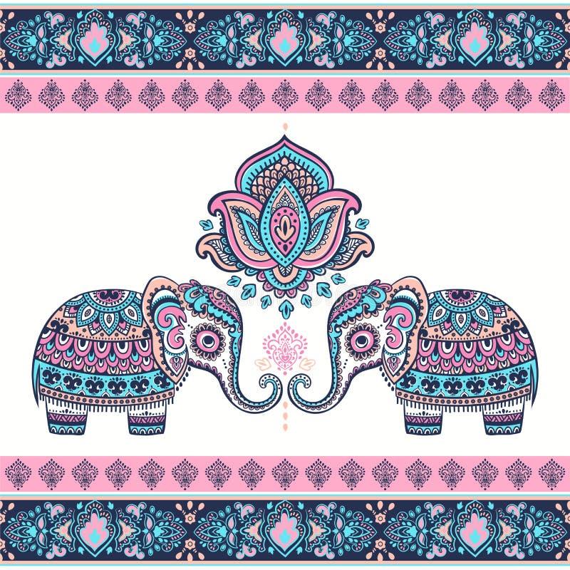 Ethnischer Elefant des grafischen Lotos des Vektors der Weinlese indischen Afrikanisches Tri lizenzfreie abbildung