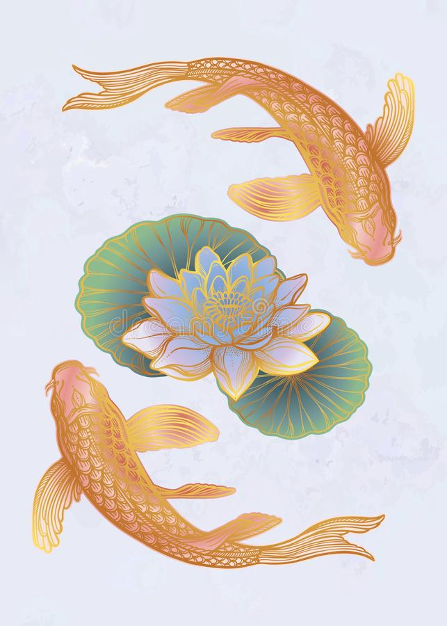 Ethnischer Fische Karpfen mit Wasserlotosblumen stock abbildung