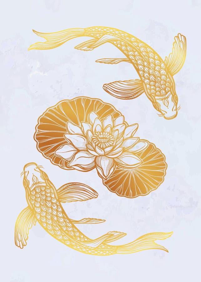 Ethnischer Fische Karpfen mit Wasserlotosblumen lizenzfreie abbildung