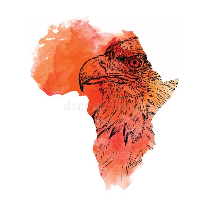 Ethnischer Handzeichenkopf des Adlers in der Vektorkarte von Afrika Auch im corel abgehobenen Betrag Abstrakter Hintergrund mit A vektor abbildung