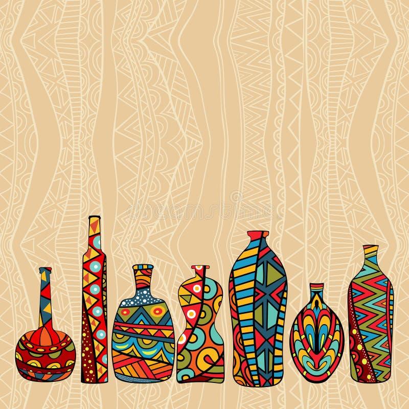 Ethnischer Hintergrund mit fantastischen Flaschen vektor abbildung