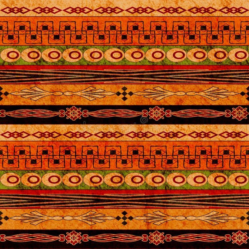 Ethnischer nahtloser Hintergrund Boho Stammes- Kunst boho Druck, Verzierungsgrenze Weißer Innenraum mit geschlossener Tür und Fel vektor abbildung