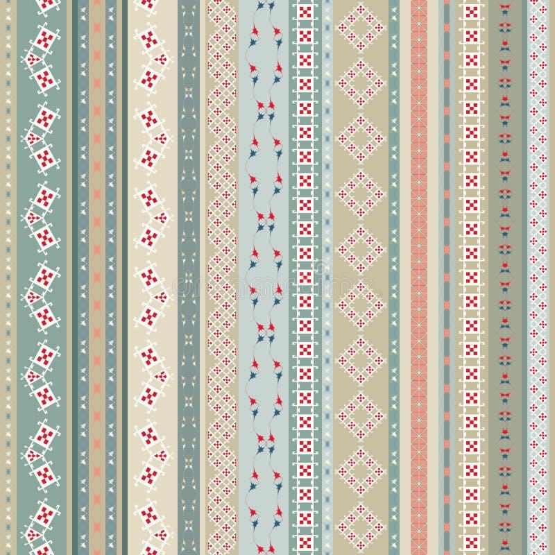 Ethnischer nahtloser Hintergrund der Weinlese Boho-Streifen Gestreifter Weinlese boho Modeart-Musterhintergrund mit Stammes- Form vektor abbildung