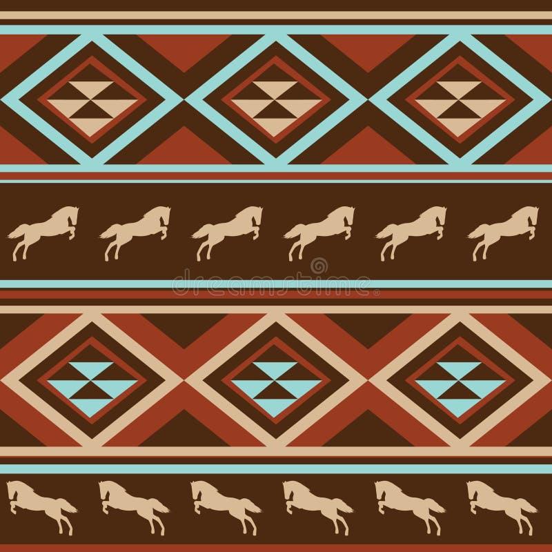 Ethnischer Pattenhintergrund mit Pferd. stock abbildung