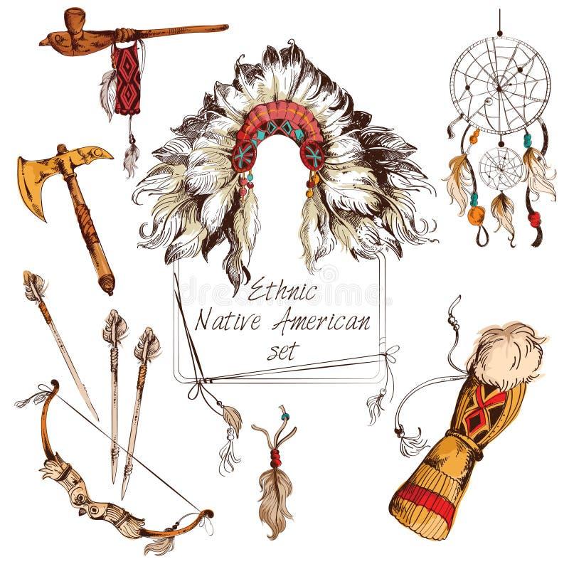 Ethnischer Satz des amerikanischen Ureinwohners gefärbt lizenzfreie abbildung
