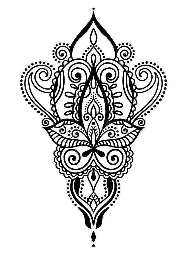 Ethnischer Tätowierungsentwurf des Paisley-Handabgehobenen betrages, Hennastrauch mehndi Gekritzelgestaltungselement stock abbildung