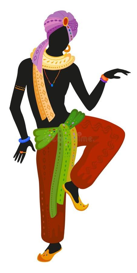 Ethnischer Tanz des indischen Mannes lizenzfreie abbildung