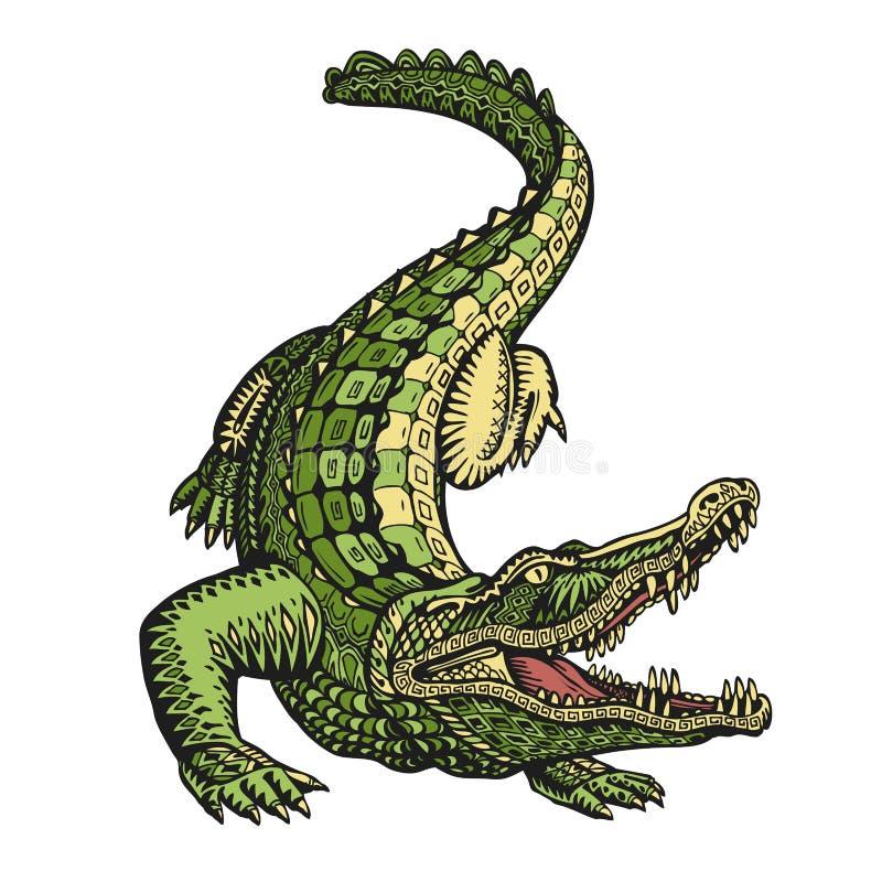 Ethnischer verzierter Alligator oder Krokodil Hand gezeichnete Vektorillustration mit dekorativen Elementen lizenzfreie abbildung