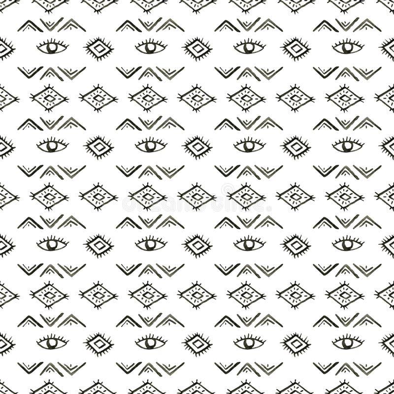 Ethnisches Aquarellmuster Aztekischer geometrischer Hintergrund der Mode Hand gezeichnetes einfarbiges Muster Moderne abstrakte T vektor abbildung