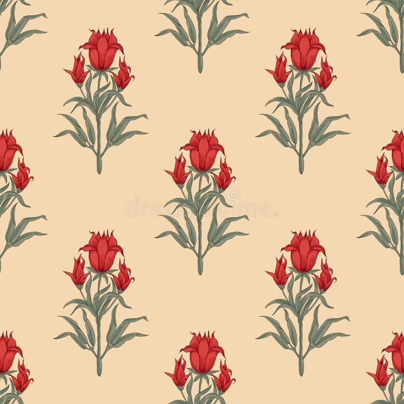 Ethnisches Blumen-blockprint Muster lizenzfreie abbildung