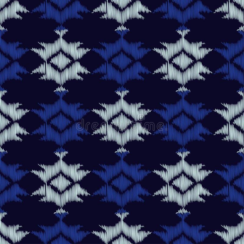 Ethnisches boho blaues nahtloses Muster Stickerei auf Gewebe Retro- Motiv lizenzfreie abbildung