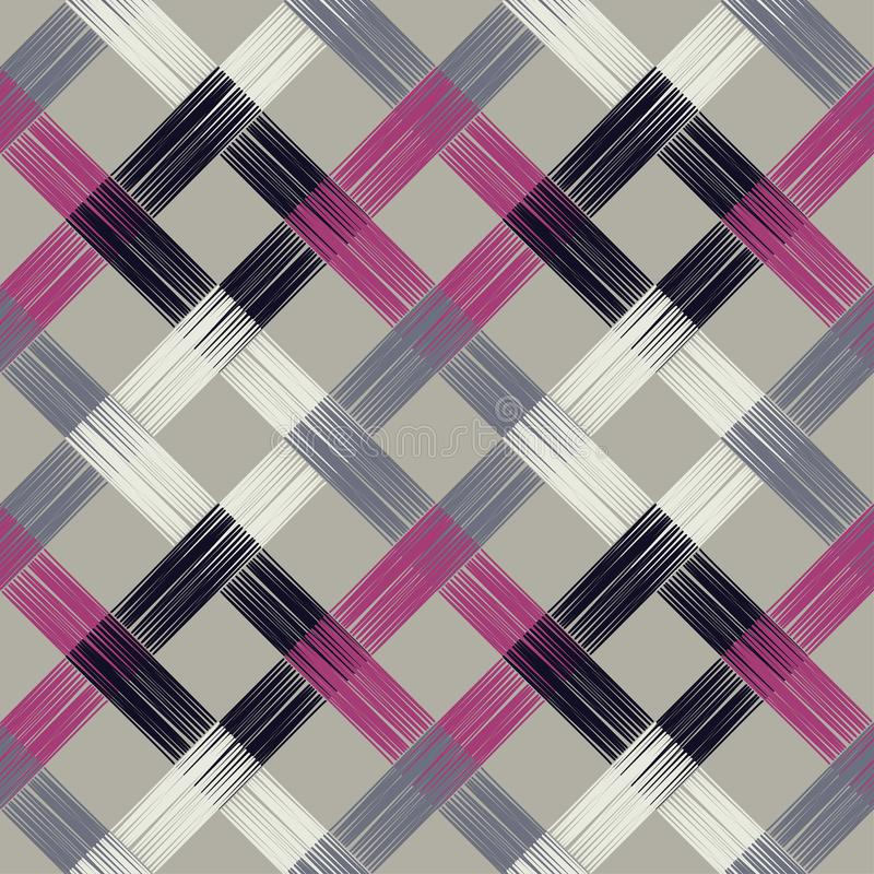 Ethnisches boho nahtloses Muster Asiatische Matte Gekritzelbeschaffenheit Kleine Verzierung mit Quadraten vektor abbildung