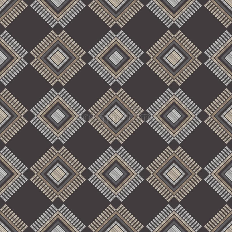 Ethnisches boho nahtloses Muster Patchworkbeschaffenheit spinnen Traditionelle Verzierung Stammes- Muster Kleine Verzierung mit Q lizenzfreies stockbild