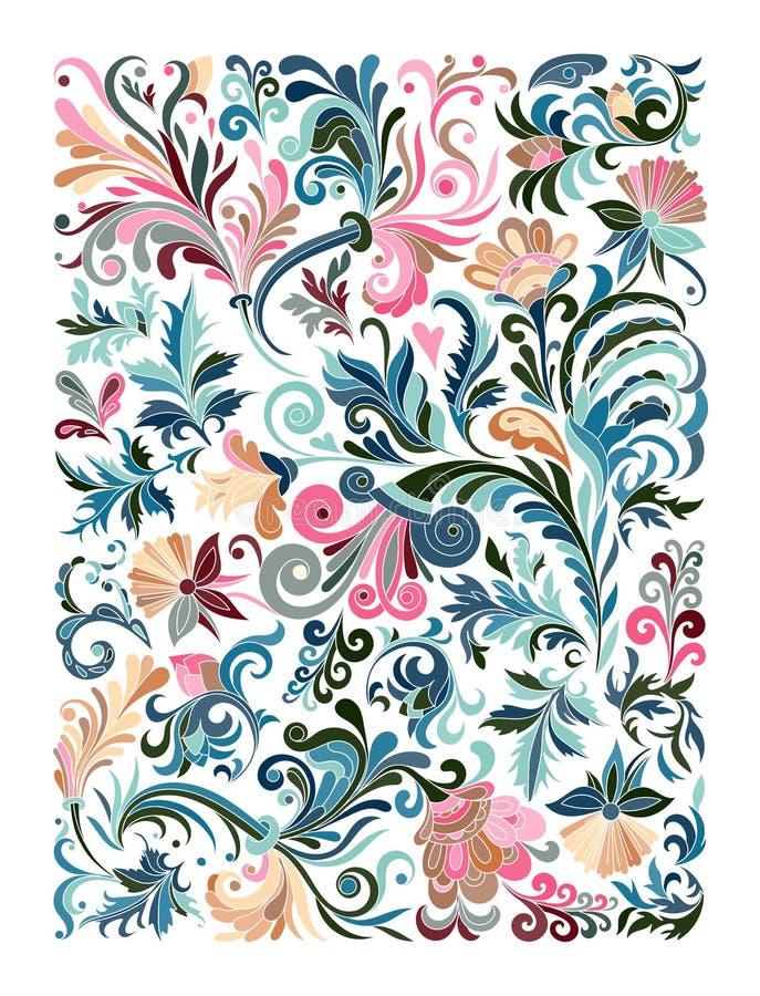 Ethnisches farbiges Blumen-zentangle, Gekritzelhintergrund-Musterrechteck im Vektor lizenzfreie abbildung