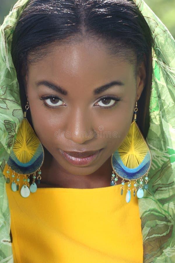 Ethnisches Frauen-Gesicht: Afrikanische Schönheit, Verschiedenartigkeit lizenzfreie stockfotos